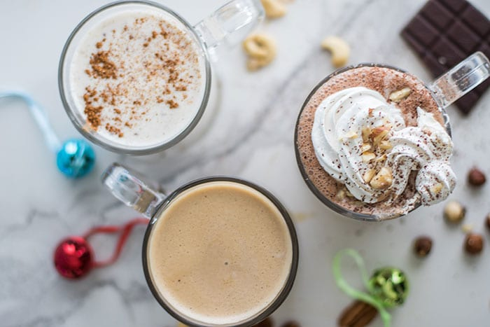 Trio of Healthy Holiday Drinks (Dairy Free, Sugar Free)