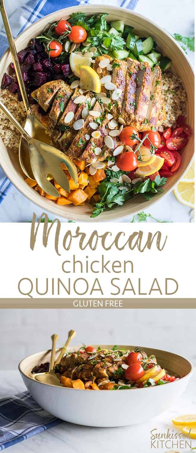 Two images showing a white bowl filled with a quinoa, roasted vegetable and moroccan chicken salad.