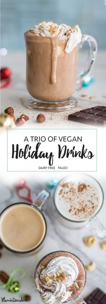 Trio of Healthy Holiday Drinks / Recipes for #TheNutraMilk - Hazelnut Hot Cocoa, Vegan Eggnog, and a Pecan Toffee Latte - #Pmedia #ad