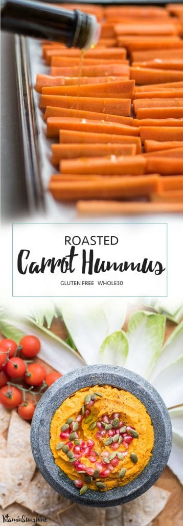 Roasted Carrot Hummus Recipe / This Whole30 hummus recipe is creamy and sweet and full of flavor. The perfect healthy dip.