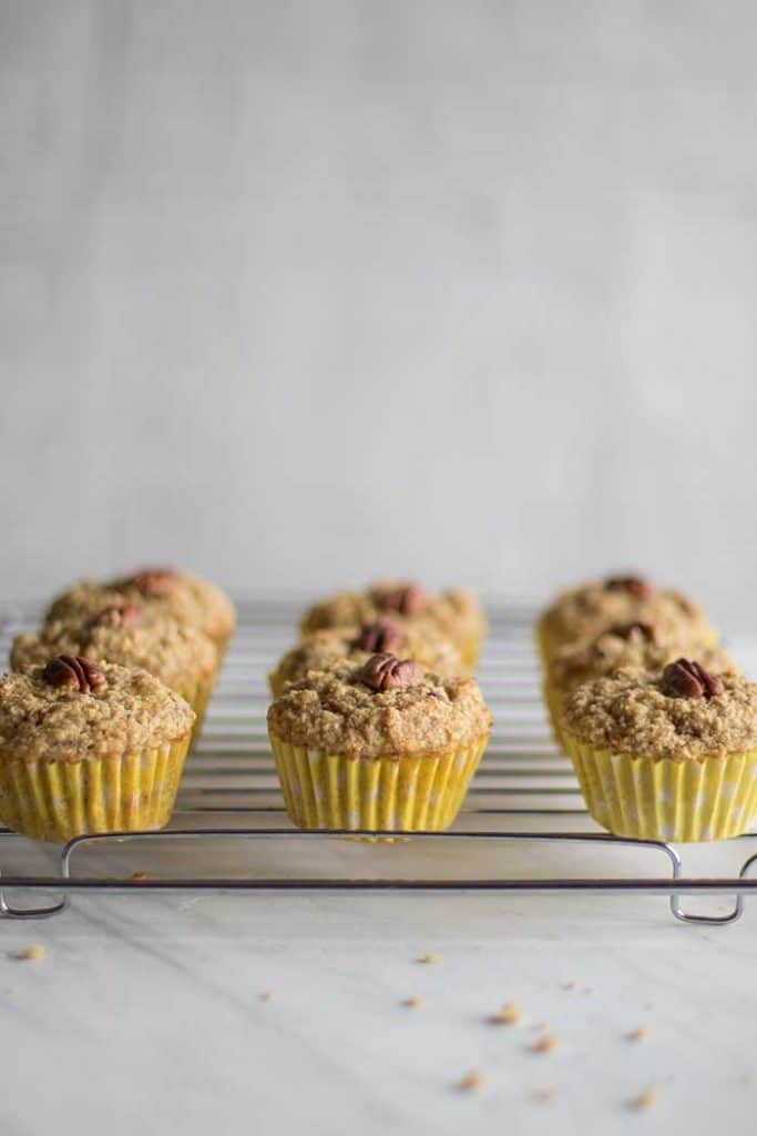 Banana Nut Muffins / These healthy banana muffins are mostly fruit sweetened, made with oat bran for extra protein and fiber.