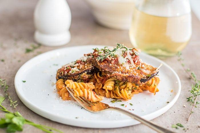 Baked Eggplant Parmesan Pasta (Gluten Free) - Sunkissed Kitchen