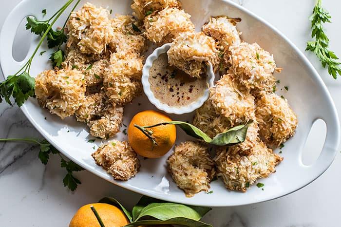 Crispy Baked Coconut Shrimp + Tips for Healthy Party Food