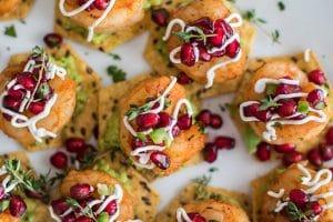 Mini Shrimp Tostadas with Pomegranate Salsa