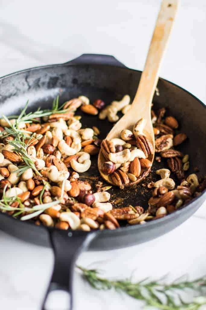 Spiced Mixed Nuts / Toasted nuts are mixed with a flavorful and festive combination of shallots, rosemary, and spices.