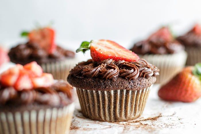 Paleo Chocolate Cupcakes with Strawberries