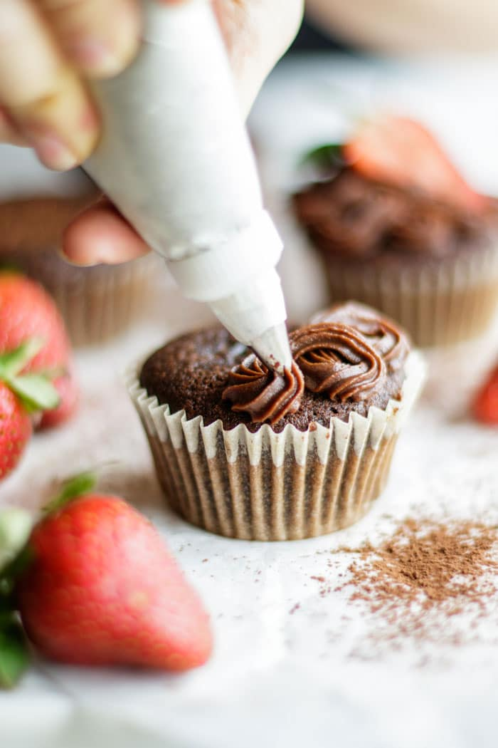 These paleo chocolate cupcakes are a perfect match for my paleo sweet potato frosting.
