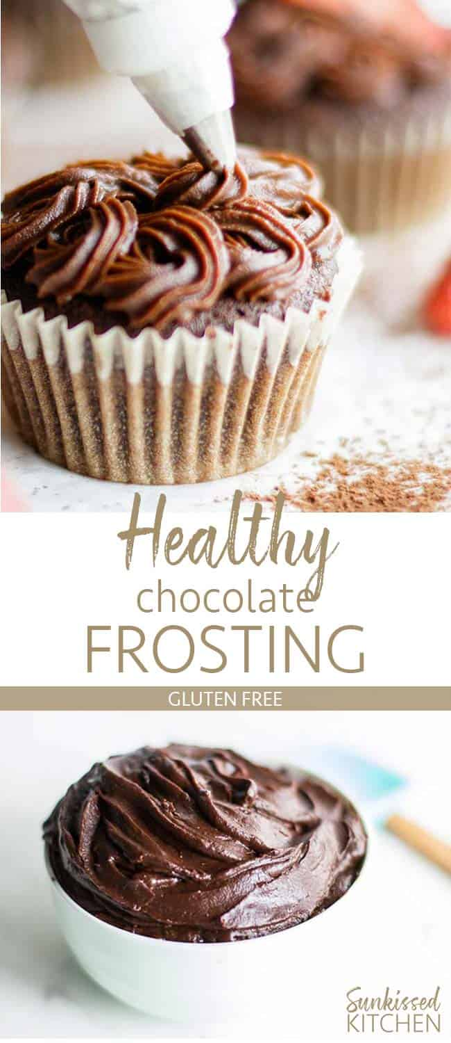 Two images showing a bowl of frosting, and a cupcake with healthy chocolate frosting being piped on.