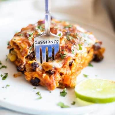 Vegetarian Enchilada Casserole (Freezer Friendly)