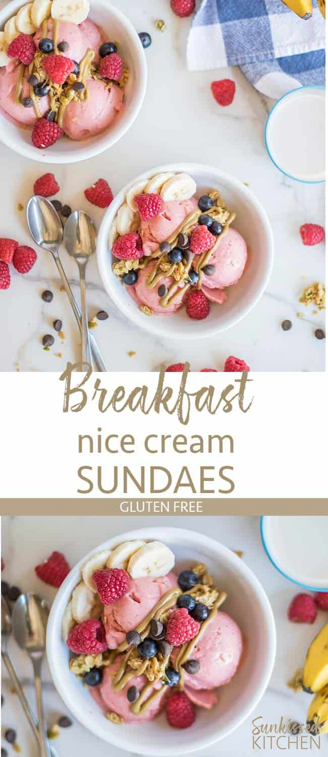 Two images showing bowls with scoops of pink ice cream topped with granola, nut butter, and raspberries.