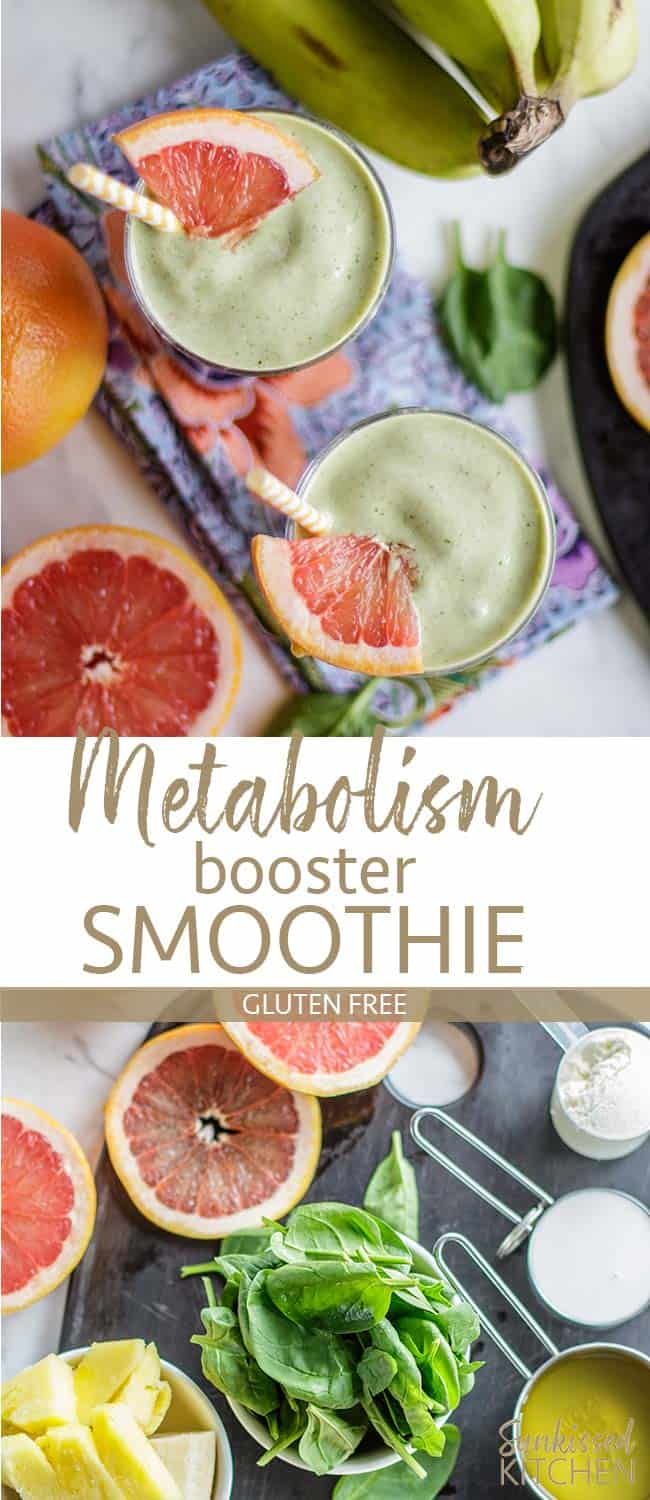Two images showing metabolism boosting smoothies from the top and from the side angles.