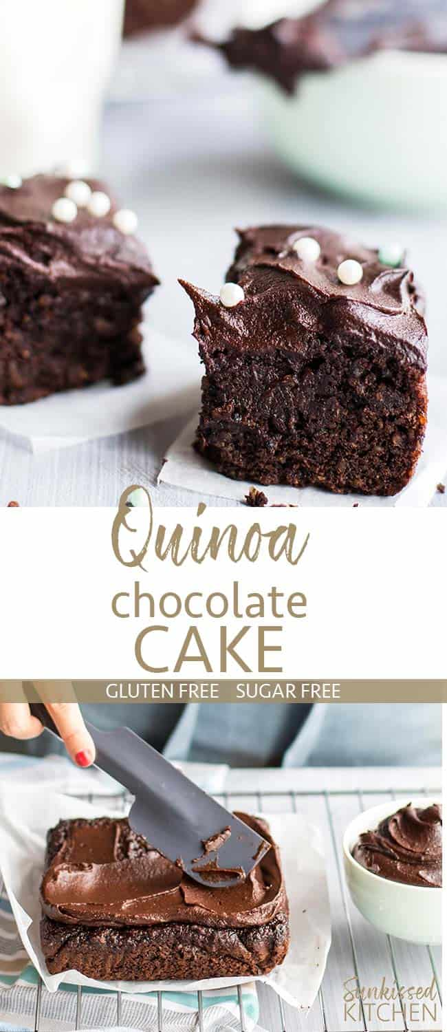 Several images showing the texture of quinoa chocolate cake.