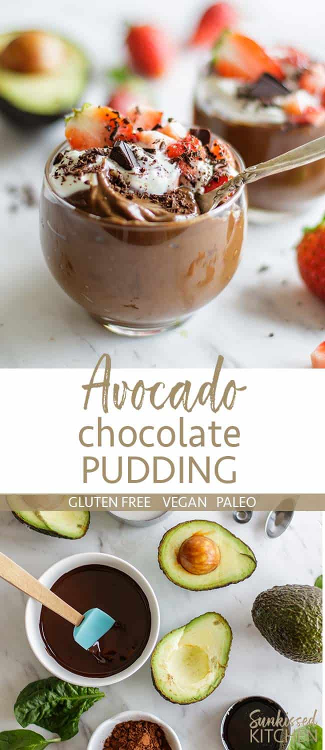 Two images showing avocado chocolate pudding in clear glasses, topped with whipped cream and strawberries.