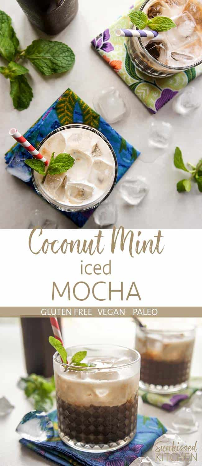 Two images showing a coconut mint iced mocha from the top and from a side angle.