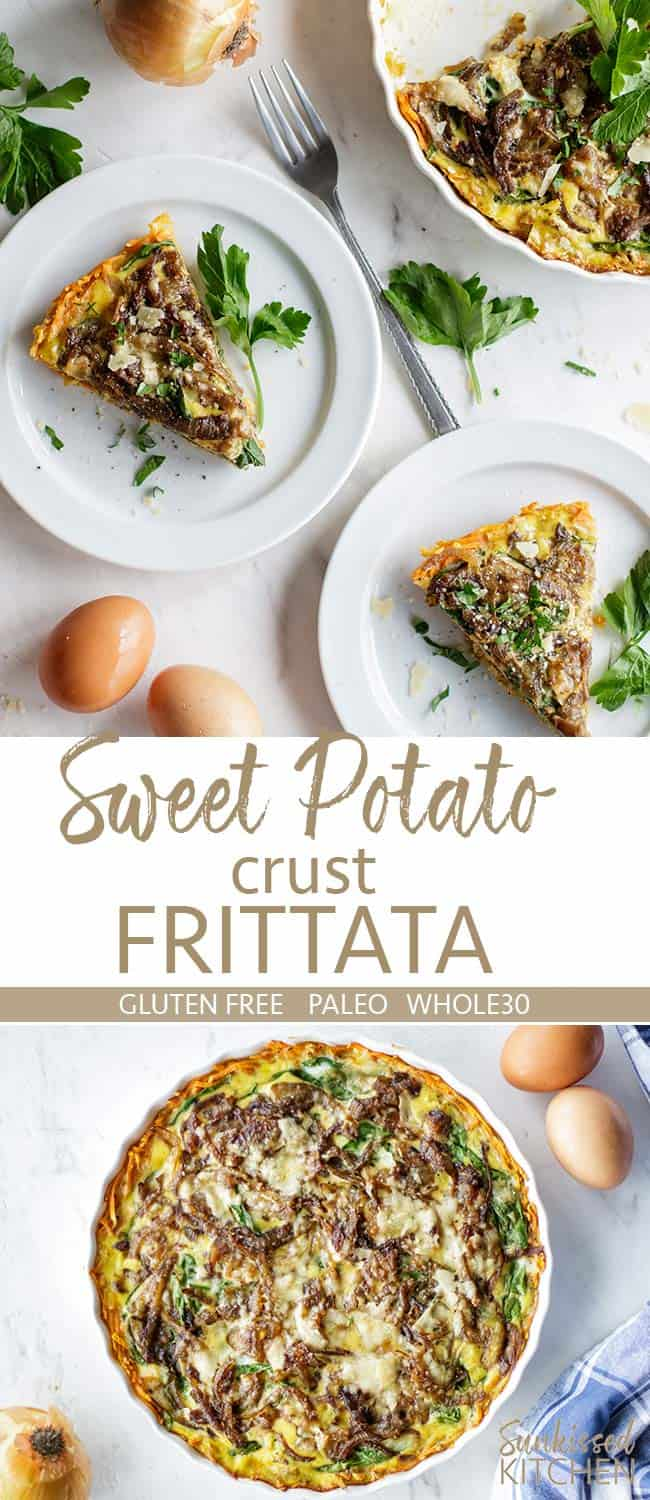 Two images showing a whole sweet potato frittata and several slices.