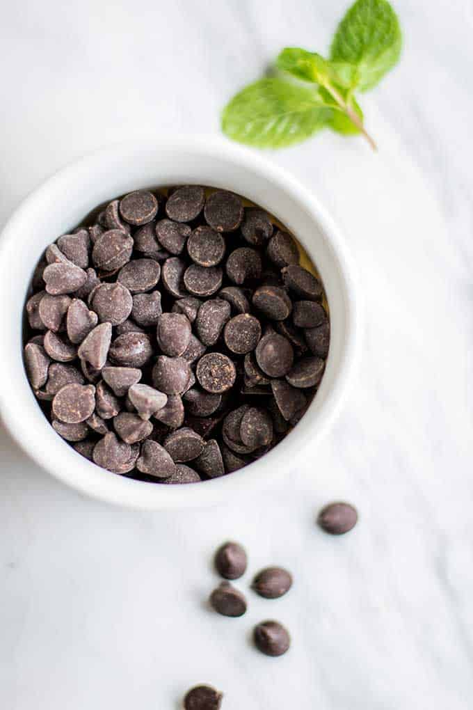 A bowl of dark chocolate chips to melt for the topping.