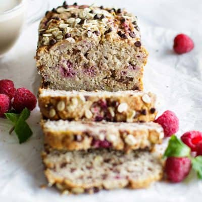 Banana Raspberry Bread with Dark Chocolate Chips