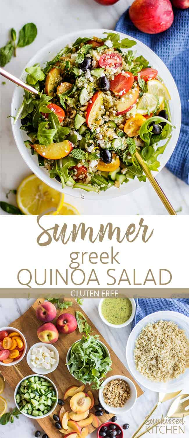 Two images showing all the ingredients for a summer quinoa salad, and a bowl of a greek quinoa salad.