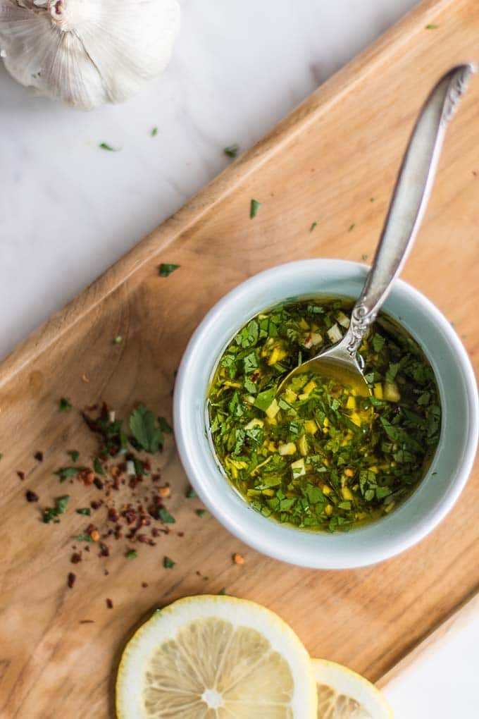 A simple olive oil and parsley marinade with garlic and chili flakes.