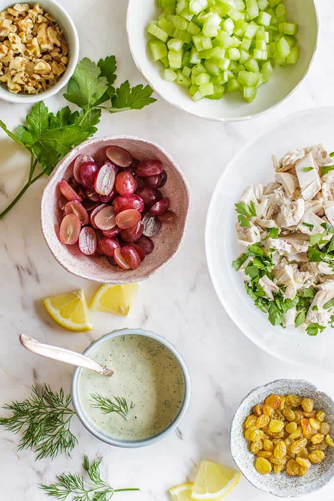 All of the ingredients for Whole30 Chicken Salad.