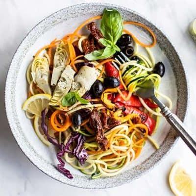 Italian Pesto Zoodle Salad