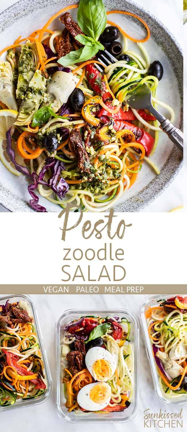 A plate, and 3 glass meal prep containers, with a simple and delicious pesto zoodle salad.