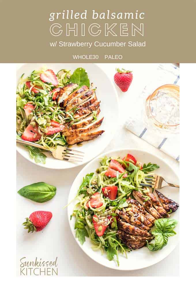 Two plates with a cooling strawberry cucumber salad topped with grilled balsamic marinated chicken.
