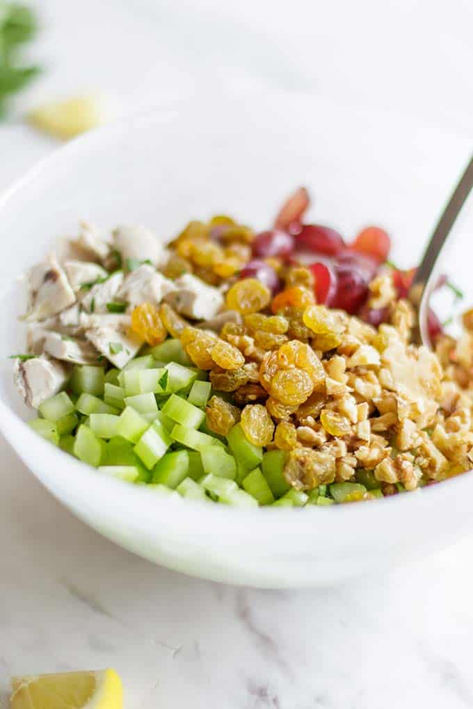A bowl with all the ingredients for a mayo free chicken salad.