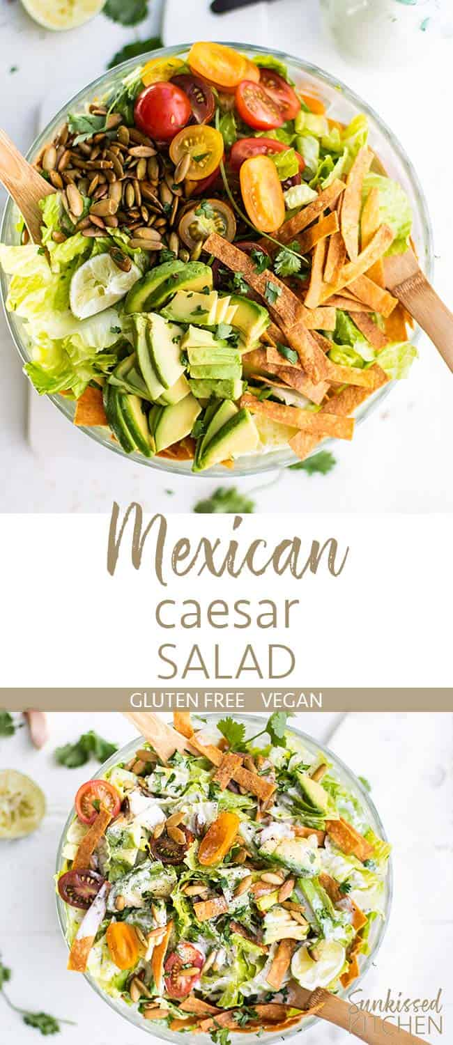 A clear bowl filled with a Mexican caesar salad, showing all the ingredients, and showing the salad tossed in a creamy caesar salad dressing.