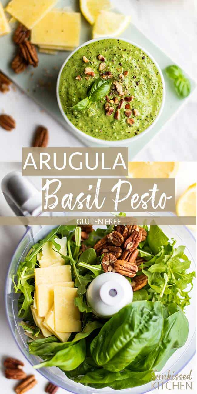 Two images showing pecan arugula basil pesto in a dish and all the ingredients in a food processor bowl.