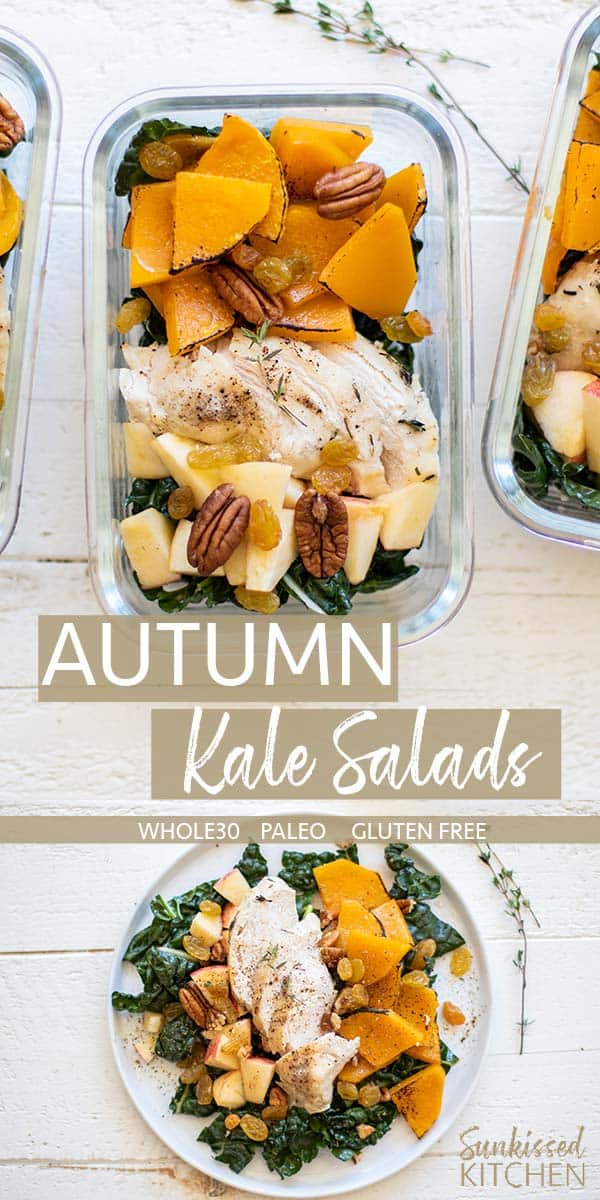 A whole30 chicken kale salad shown in a meal prep container garnished with apples, pecans and raisins.