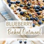 A white casserole dish with blueberry baked oatmeal topped with pecans.