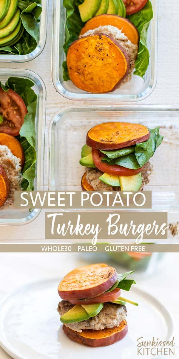 Meal prep containers with sweet potato turkey burgers.