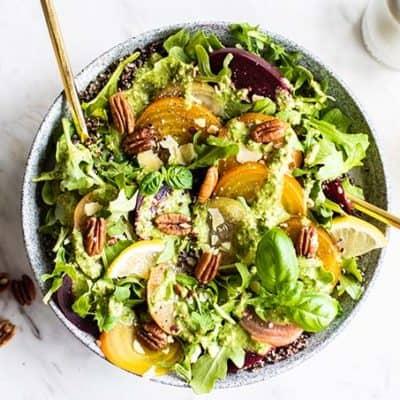 Cold Beet Salad with Pecan Arugula Pesto