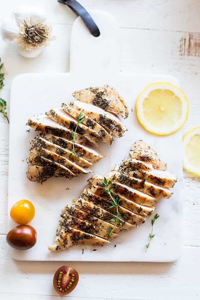 Two lemon thyme chicken breasts sliced thinly.