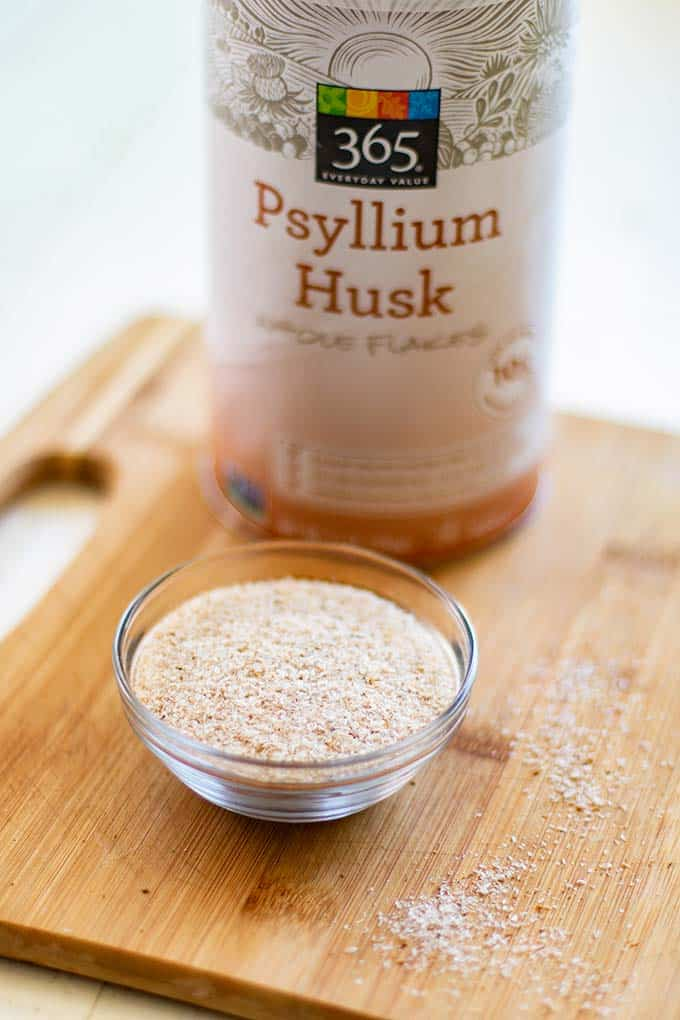 An up close look at psyllium husk, a main ingredient in this paleo bread recipe.