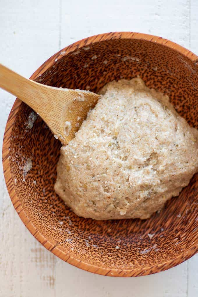 A look at the texture of the dough for this gluten free hamburger buns recipe.
