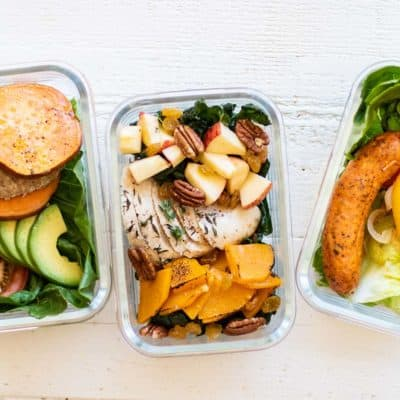 3 meal prep boxes with 3 different whole30 lunch ideas.