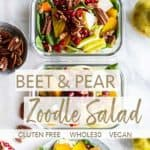 Fall zoodle salads in meal prep containers and on a plate, garnished with pecans.
