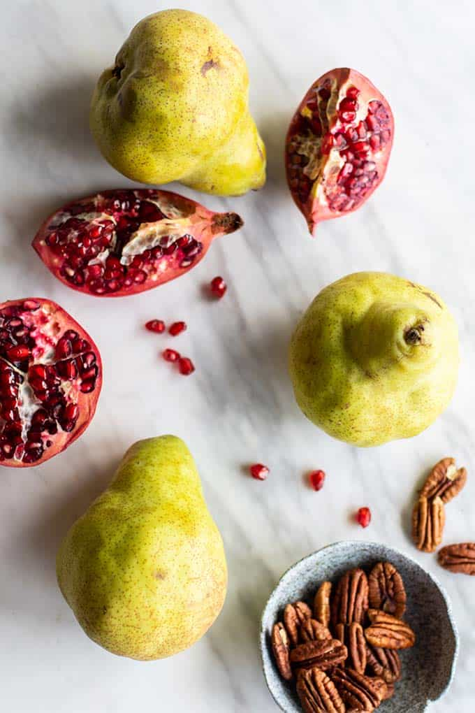 Pears, pomegranate, and pecans, to top the zoodle salads.
