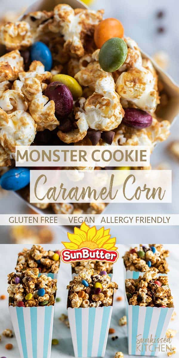 Two images showing an easy caramel corn recipe using Sunbutter.