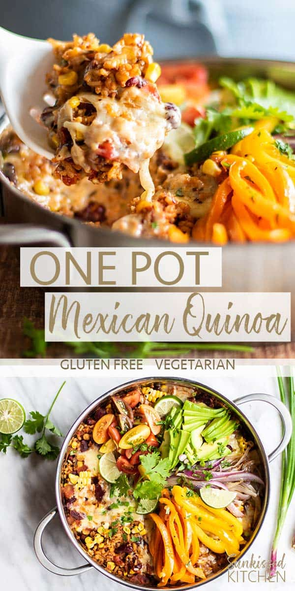 Two images showing the final dish of One Pan Mexican Quinoa and Rice.
