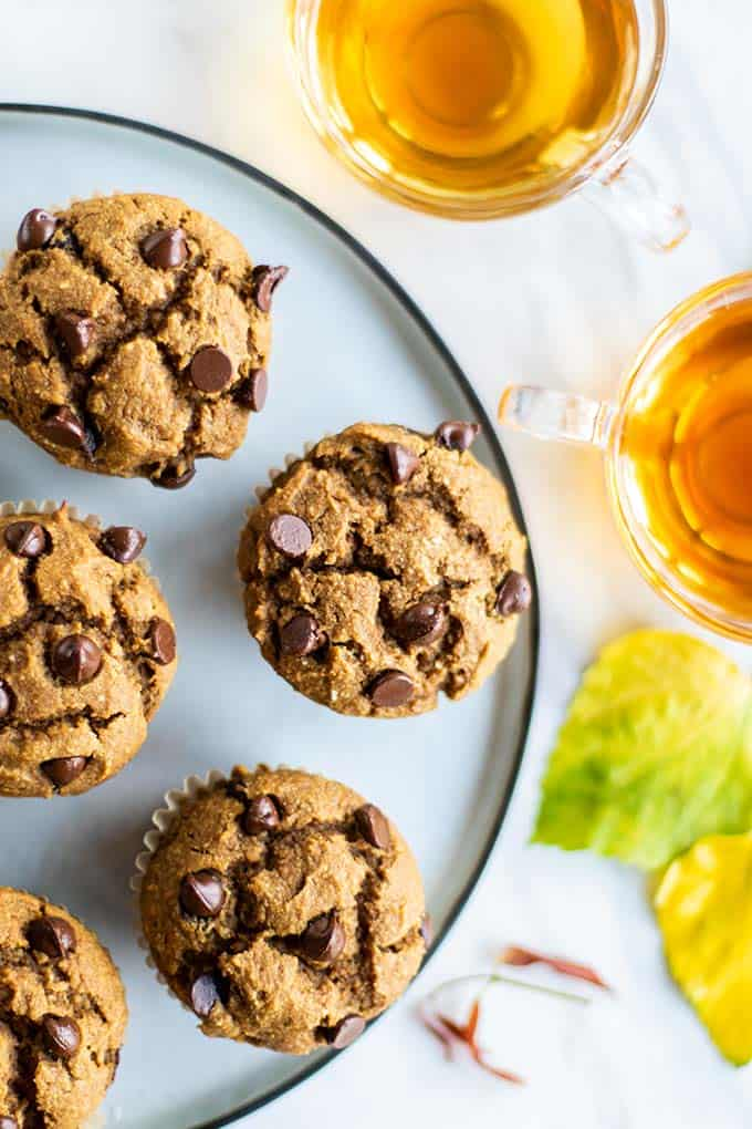 A plate filled with healthy pumpkin chocolate chip muffins.