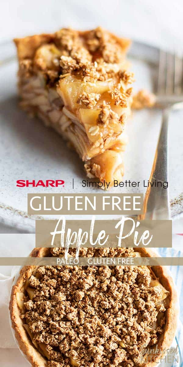 A slice of gluten free apple pie and an image of a whole pie.