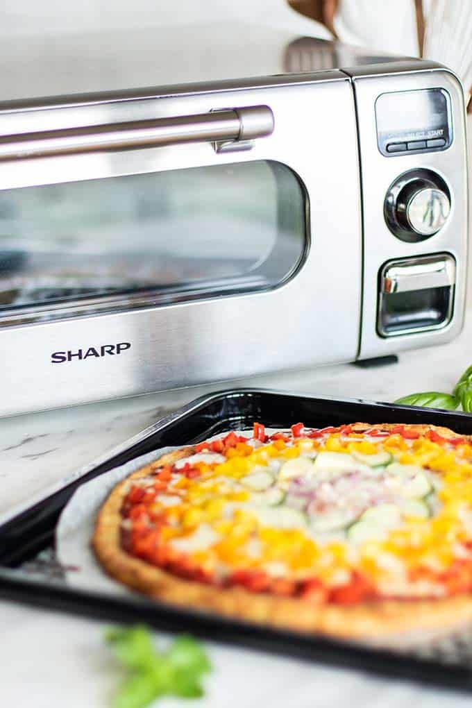Sharp Superheated Steam Countertop Oven with pizza.
