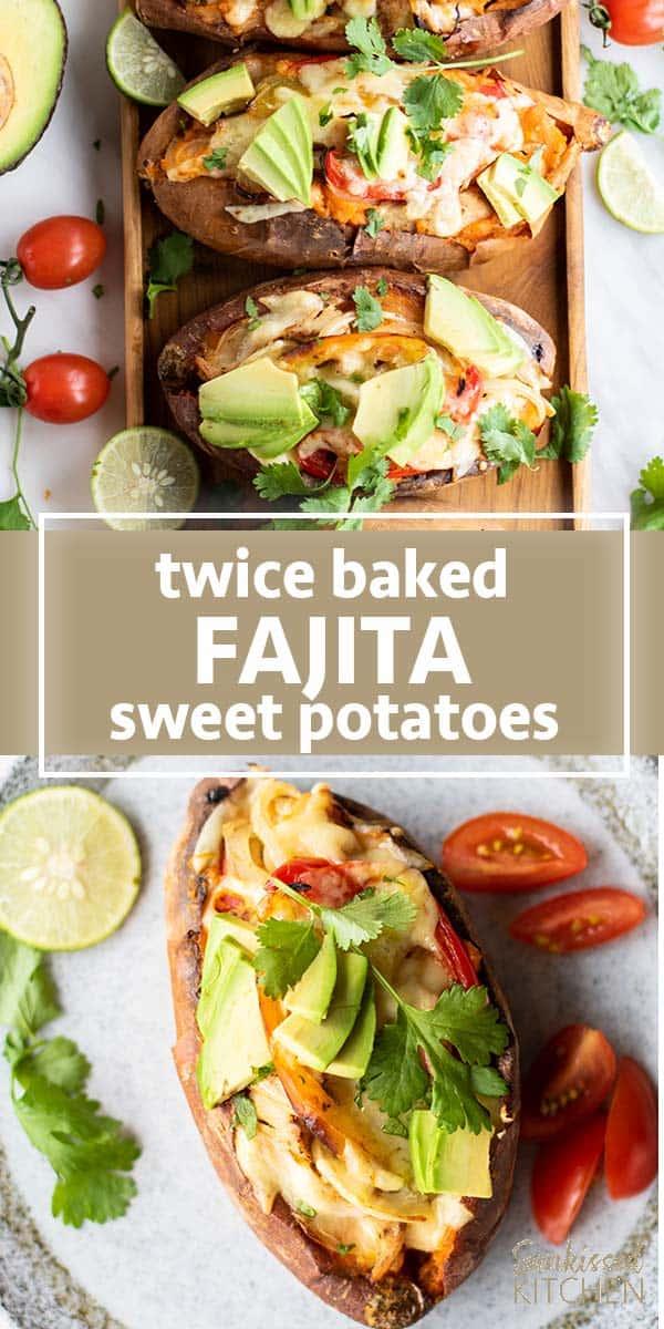 4 twice baked sweet potatoes on a platter.