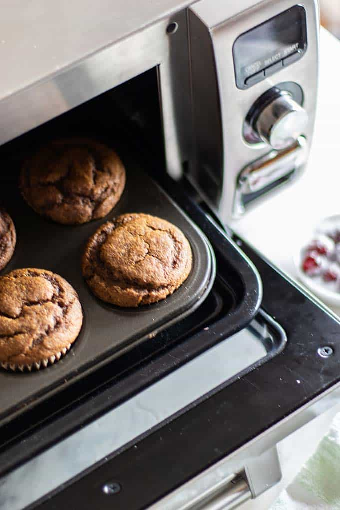 Gingerbread cupcakes being baked in the Sharp Superheated Steam Countertop Oven.