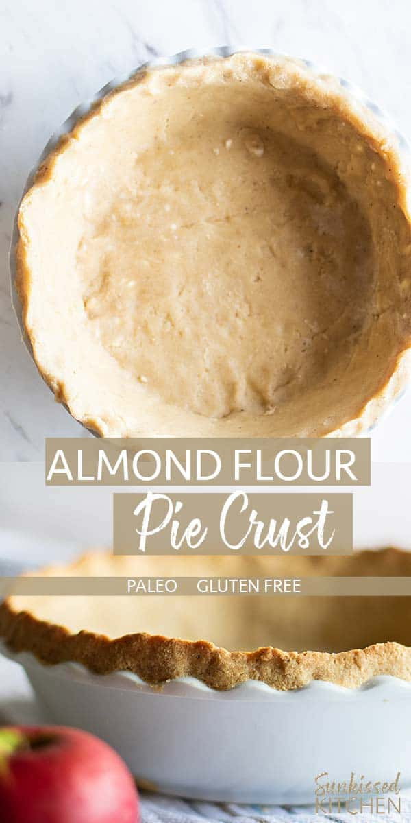 Two images showing an almond flour pie crust formed in a pie plate, and baked ready to be filled.
