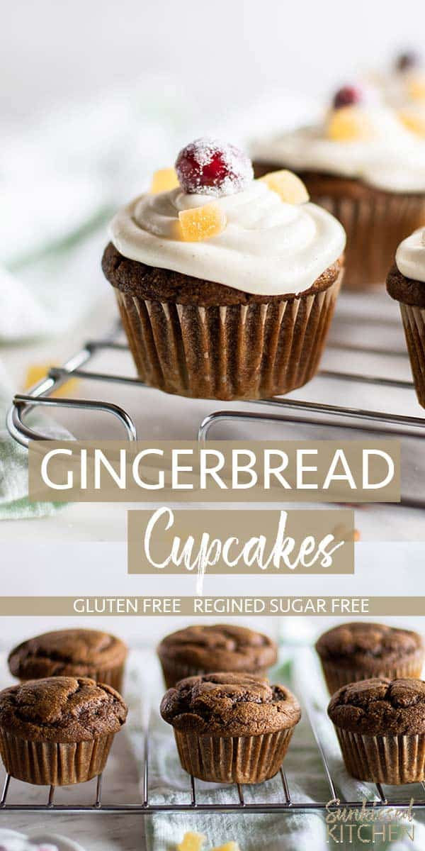 Two images showing iced gingerbread cupcakes with cranberries and candied ginger.