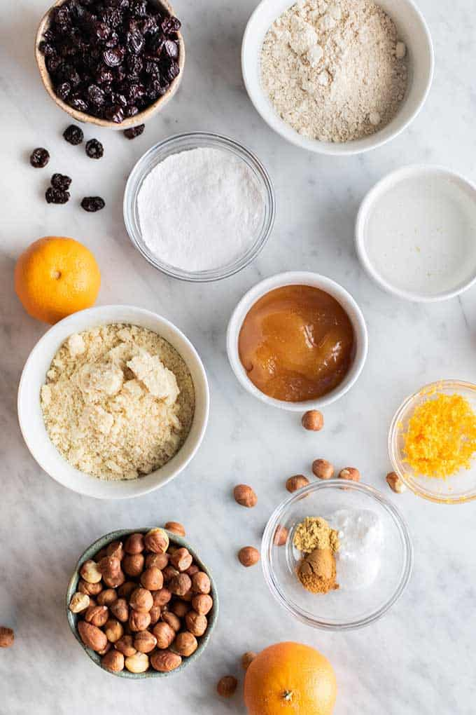 The ingredients for healthy gluten free biscotti made with almond flour and oat flour.